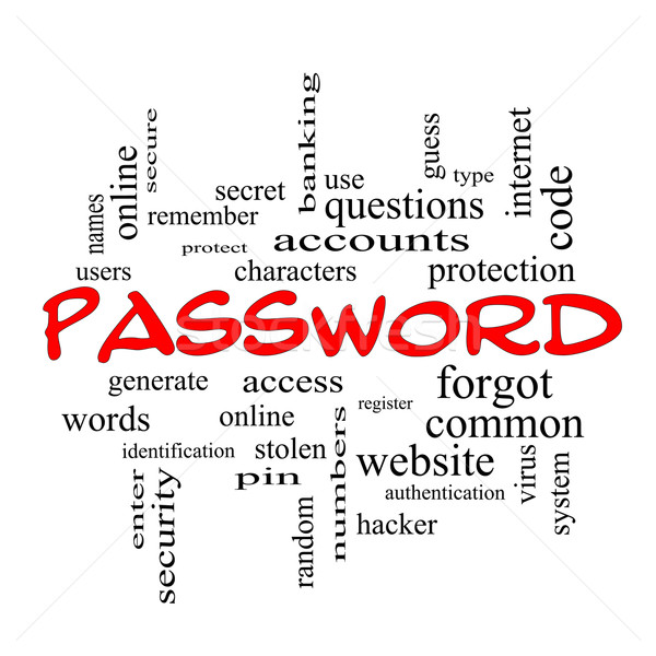 Password Word Cloud Concept in red caps Stock photo © mybaitshop