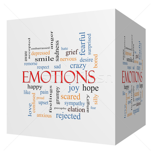 Emotions 3D cube Word Cloud Concept Stock photo © mybaitshop