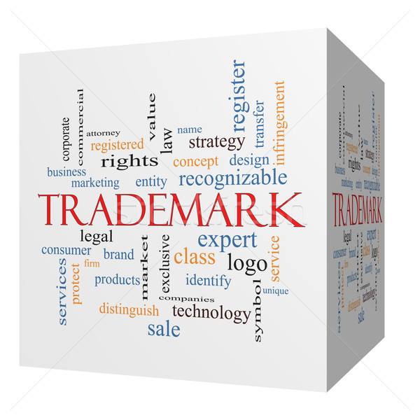 Stock photo: Trademark 3D cube Word Cloud Concept