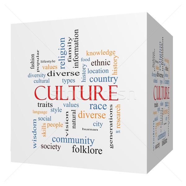 Culture 3D cube Word Cloud Concept Stock photo © mybaitshop