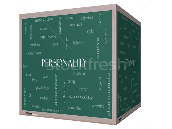 Personality Word Cloud Concept on a 3D cube Blackboard Stock photo © mybaitshop