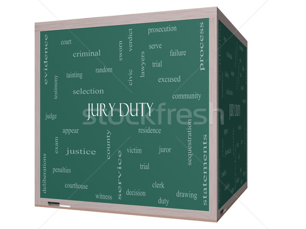 Jury Duty Word Cloud Concept on a 3D cube Blackboard Stock photo © mybaitshop