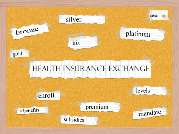 Health Insurance Exchange Corkboard Word Concept Stock photo © mybaitshop