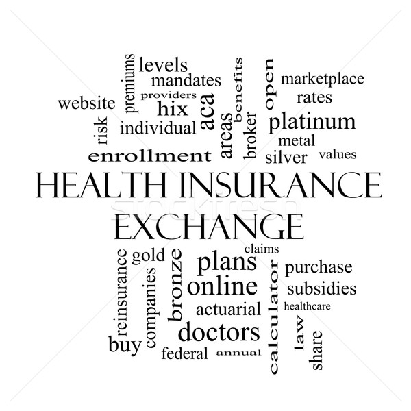 Health Insurance Exchange Word Cloud Concept in black and white Stock photo © mybaitshop