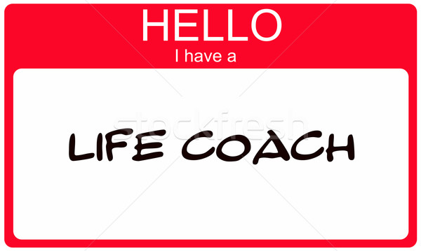 Hello I have a Life Coach Red Name Tag Stock photo © mybaitshop