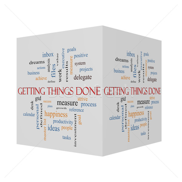 Getting Things Done 3D cube Word Cloud Concept  Stock photo © mybaitshop