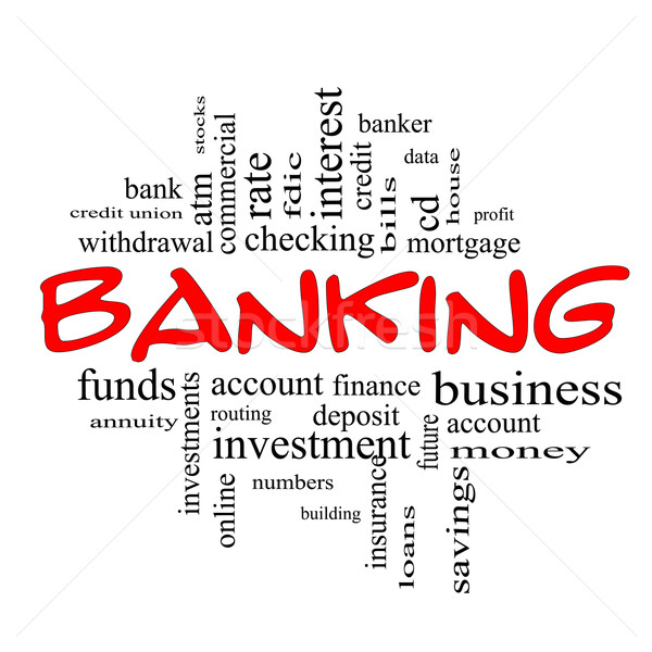 Banking Word Cloud Concept in red & black Stock photo © mybaitshop