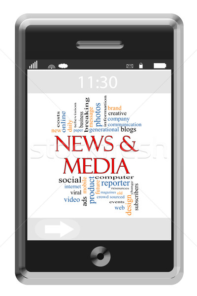 News & Media Word Cloud Concept on Touchscreen Phone Stock photo © mybaitshop