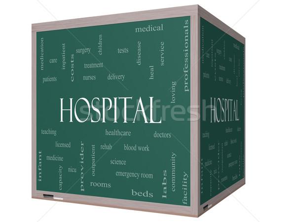 Hospital Word Cloud Concept on a 3D Cube Blackboard Stock photo © mybaitshop
