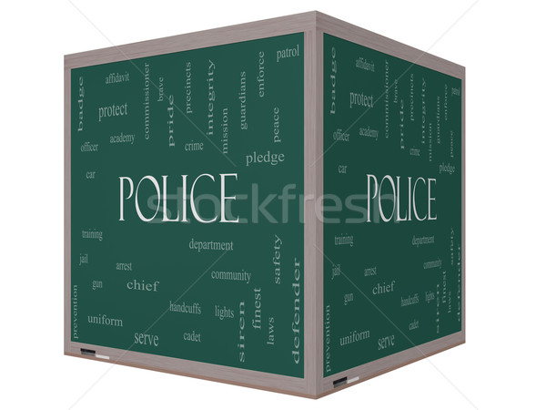 Police Word Cloud Concept on a 3D cube Blackboard Stock photo © mybaitshop