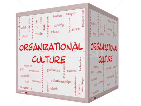 Organizational Culture Word Cloud Concept on a 3D cube Whiteboard Stock photo © mybaitshop