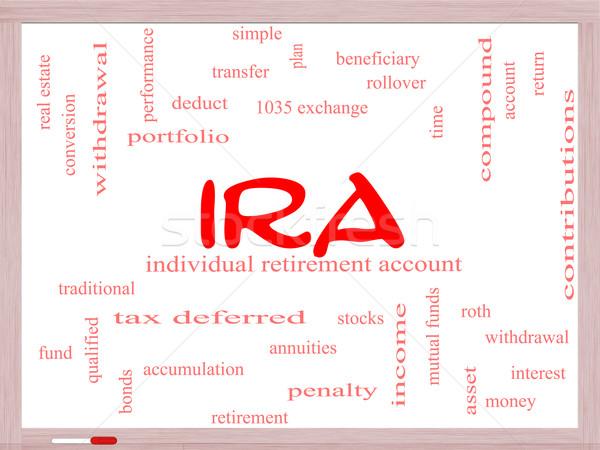 IRA Word Cloud Concept on a Whiteboard Stock photo © mybaitshop