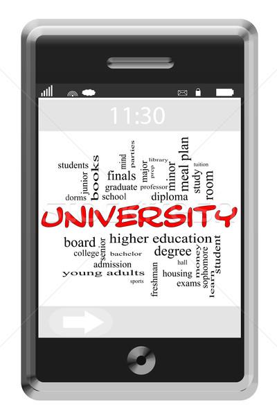 University Word Cloud Concept on Touchscreen Phone Stock photo © mybaitshop
