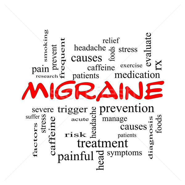 Migrena chmura słowo czerwony głowy Zdjęcia stock © mybaitshop