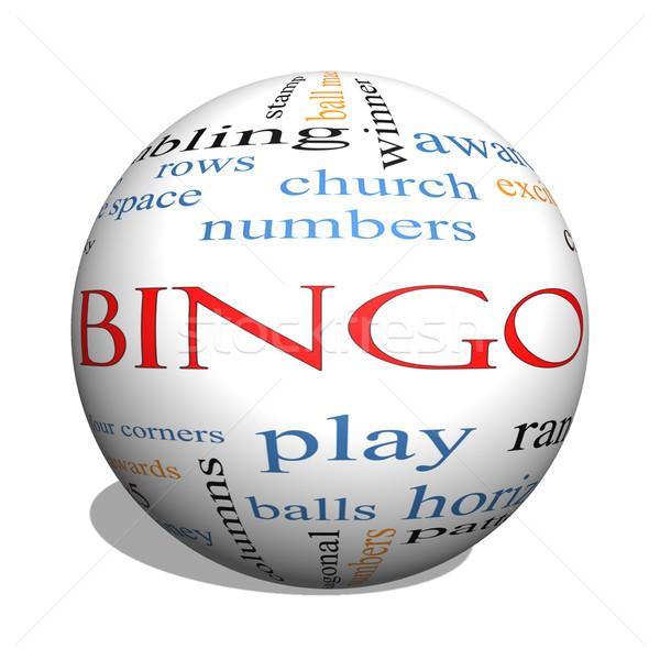 Bingo 3D bol woordwolk groot nummers Stockfoto © mybaitshop