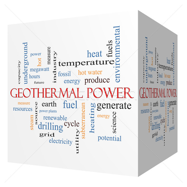 Geothermal Power 3D cube Word Cloud Concept Stock photo © mybaitshop