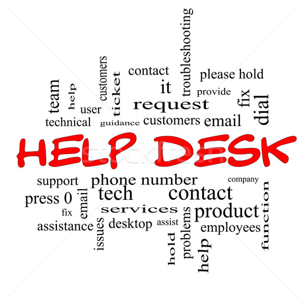Foto d'archivio: Help · desk · word · cloud · rosso · clienti