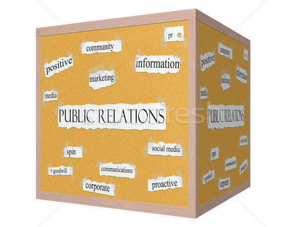 Public Relations 3D cube Corkboard Word Concept Stock photo © mybaitshop