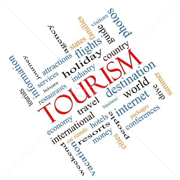 Tourism Word Cloud Concept Angled Stock photo © mybaitshop