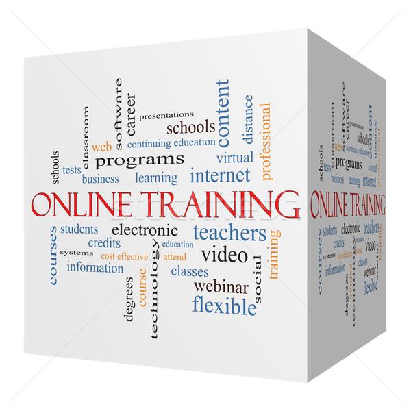 Stock fotó: Online · képzés · 3D · kocka · szófelhő · nagyszerű
