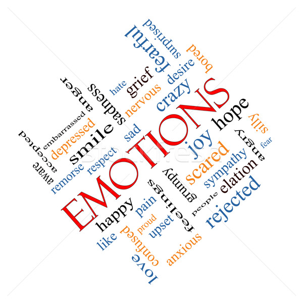 Emotions Word Cloud Concept Angled Stock photo © mybaitshop