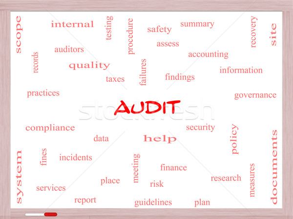 Audit Word Cloud Concept on a Whiteboard Stock photo © mybaitshop