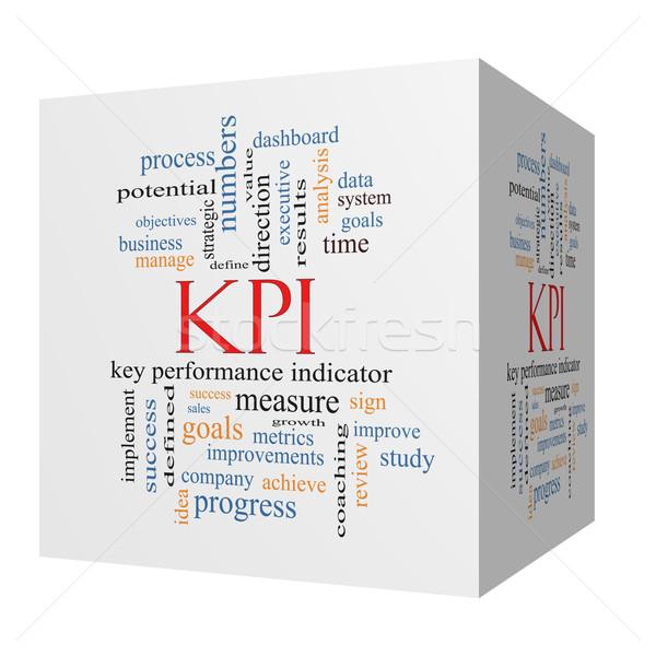 KPI Word Cloud Concept on a 3D Cube Stock photo © mybaitshop