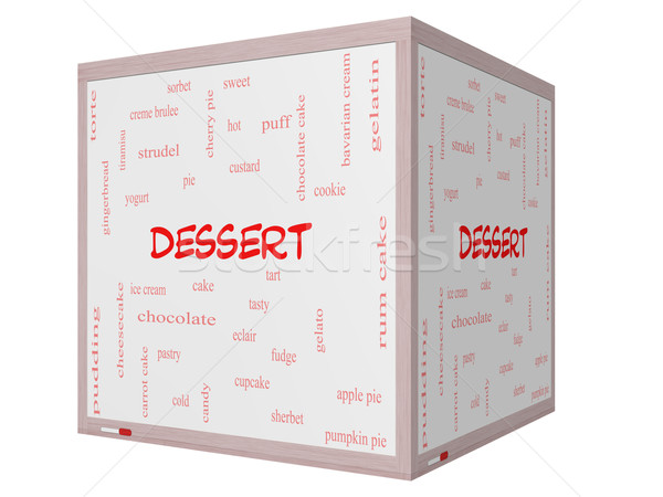 Dessert Word Cloud Concept on a 3D cube Whiteboard Stock photo © mybaitshop