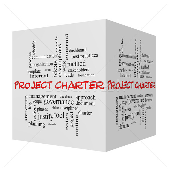 Project Charter 3D cube Word Cloud Concept in red caps Stock photo © mybaitshop