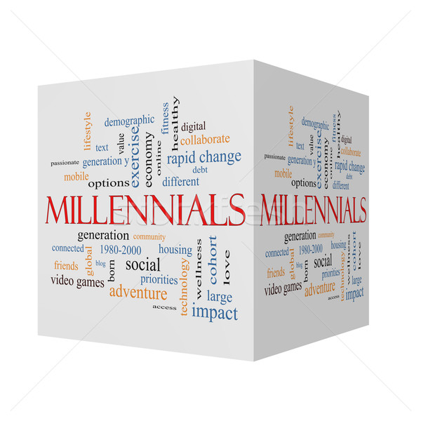 Stock photo: Millennials 3D cube Word Cloud Concept