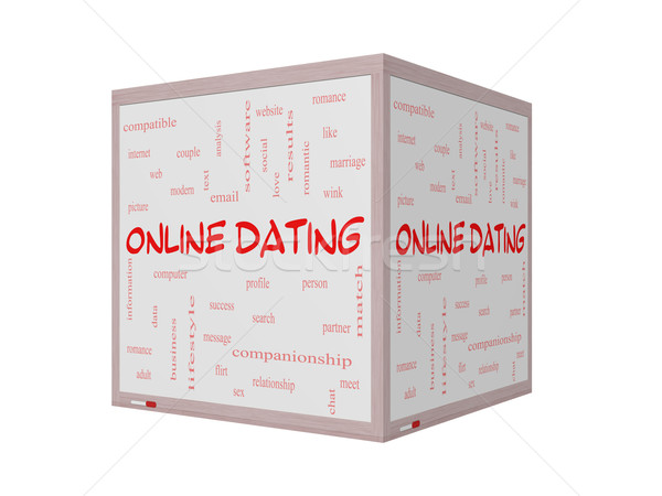 Online Dating  Cloud Concept on a 3D Whiteboard Stock photo © mybaitshop