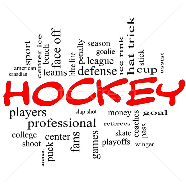 Hockey Word Cloud Concept in Red Scribbles Stock photo © mybaitshop