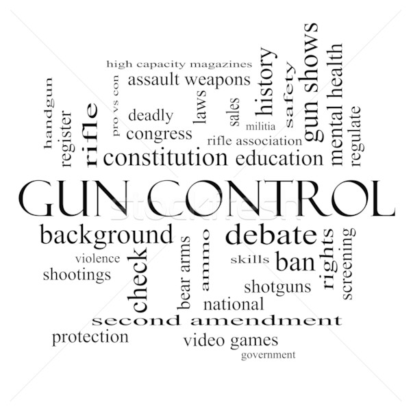 Gun Control Word Cloud Concept in black and white Stock photo © mybaitshop
