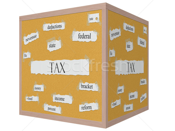 Tax 3d cube Corkboard Word Concept Stock photo © mybaitshop