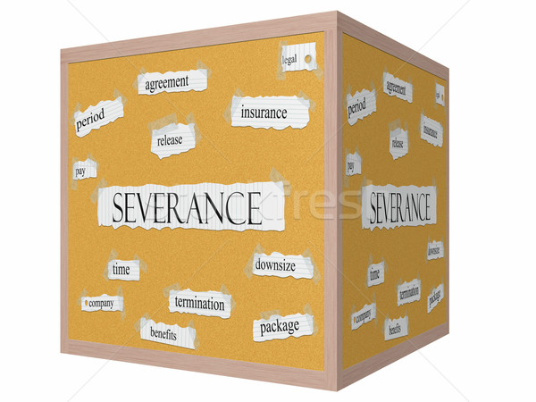 Severance 3D cube Corkboard Word Concept Stock photo © mybaitshop
