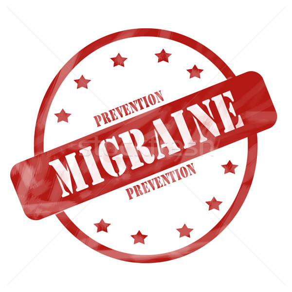 Red Weathered Migraine Prevention Stamp Circle and Stars Stock photo © mybaitshop