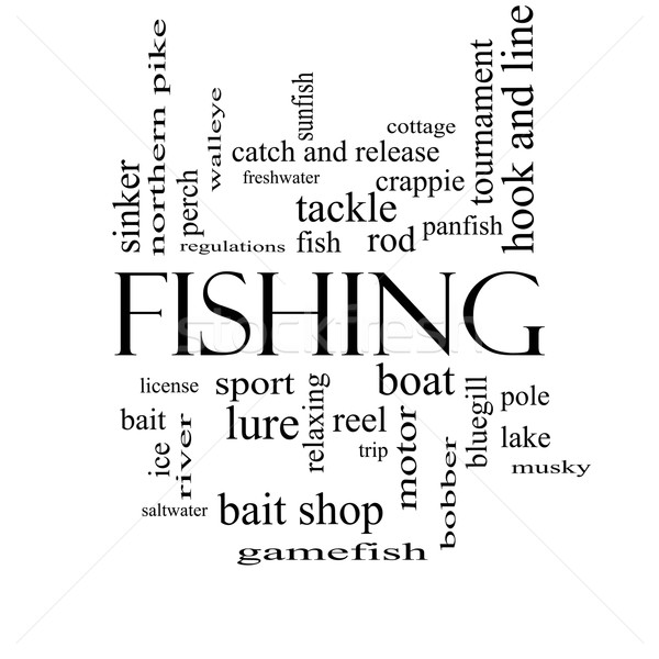Fishing Word Cloud Concept in black and white Stock photo © mybaitshop