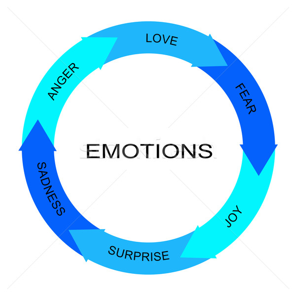 Emociones palabra círculo flechas ira Foto stock © mybaitshop