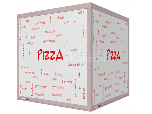 Foto stock: Pizza · nuvem · da · palavra · 3D · cubo