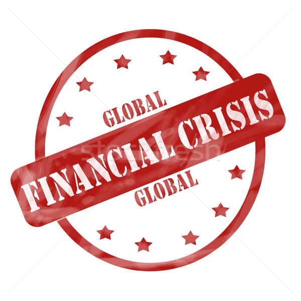 Rood verweerde globale financiële crisis stempel cirkel Stockfoto © mybaitshop