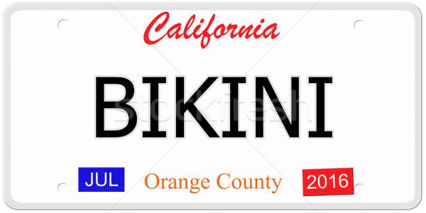 Bikini kentekenplaat imitatie Californië woord Stockfoto © mybaitshop