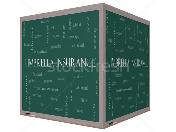 Umbrella Insurance Word Cloud Concept on a 3D cube Blackboard Stock photo © mybaitshop