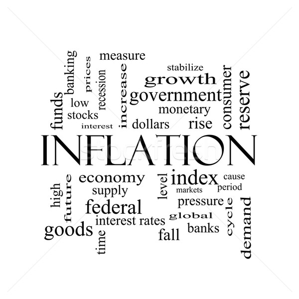 Inflation Word Cloud Concept in black and white Stock photo © mybaitshop