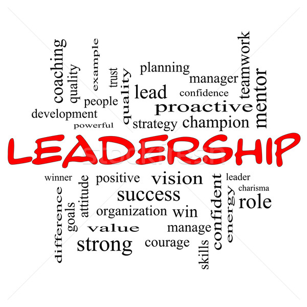 Leadership Word Cloud Concept in red caps Stock photo © mybaitshop