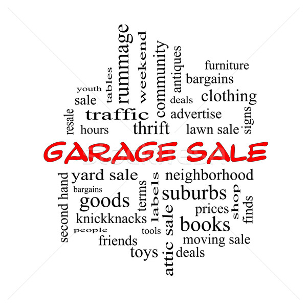 Garage Sale Word Cloud Concept in red caps Stock photo © mybaitshop
