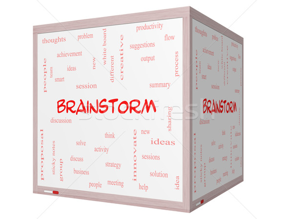 Brainstorm Word Cloud Concept on a 3D cube Whiteboard Stock photo © mybaitshop