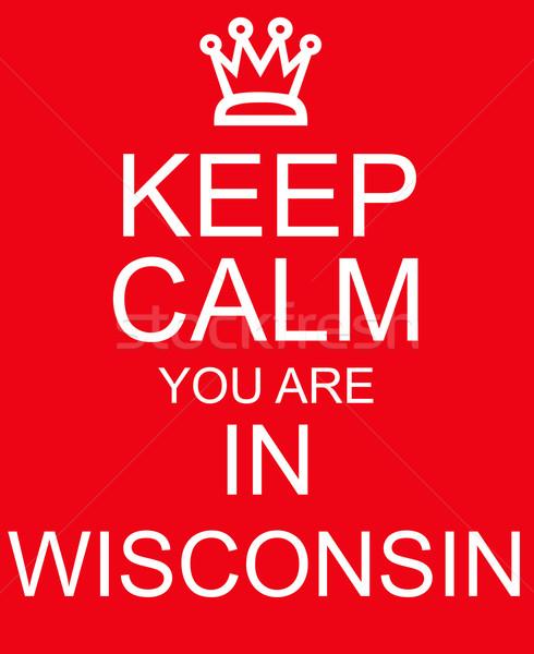 Calme Wisconsin rouge signe couronne Photo stock © mybaitshop