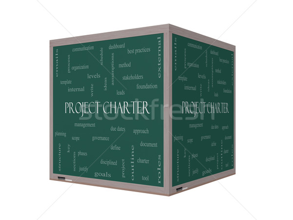Project Charter Word Cloud Concept on a 3D cube Blackboard Stock photo © mybaitshop