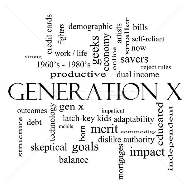 X-generáció szófelhő feketefehér nagyszerű most jövedelem Stock fotó © mybaitshop