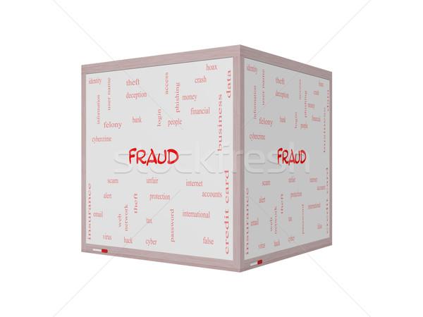 Stock fotó: Csalás · szófelhő · 3D · tábla · nagyszerű · éber